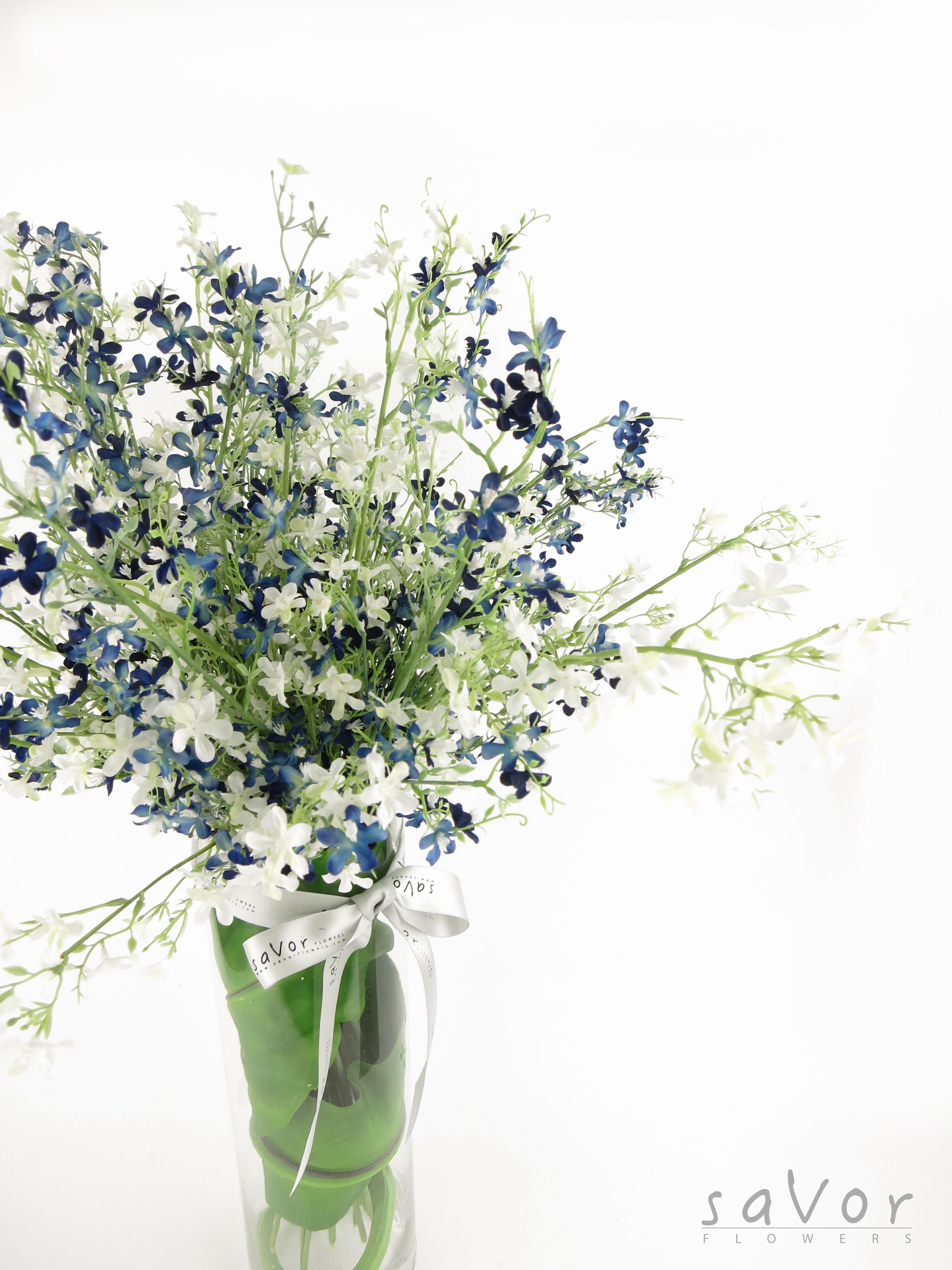 Blue And White Assorted Flowers With Tall Vase Silk Flowers