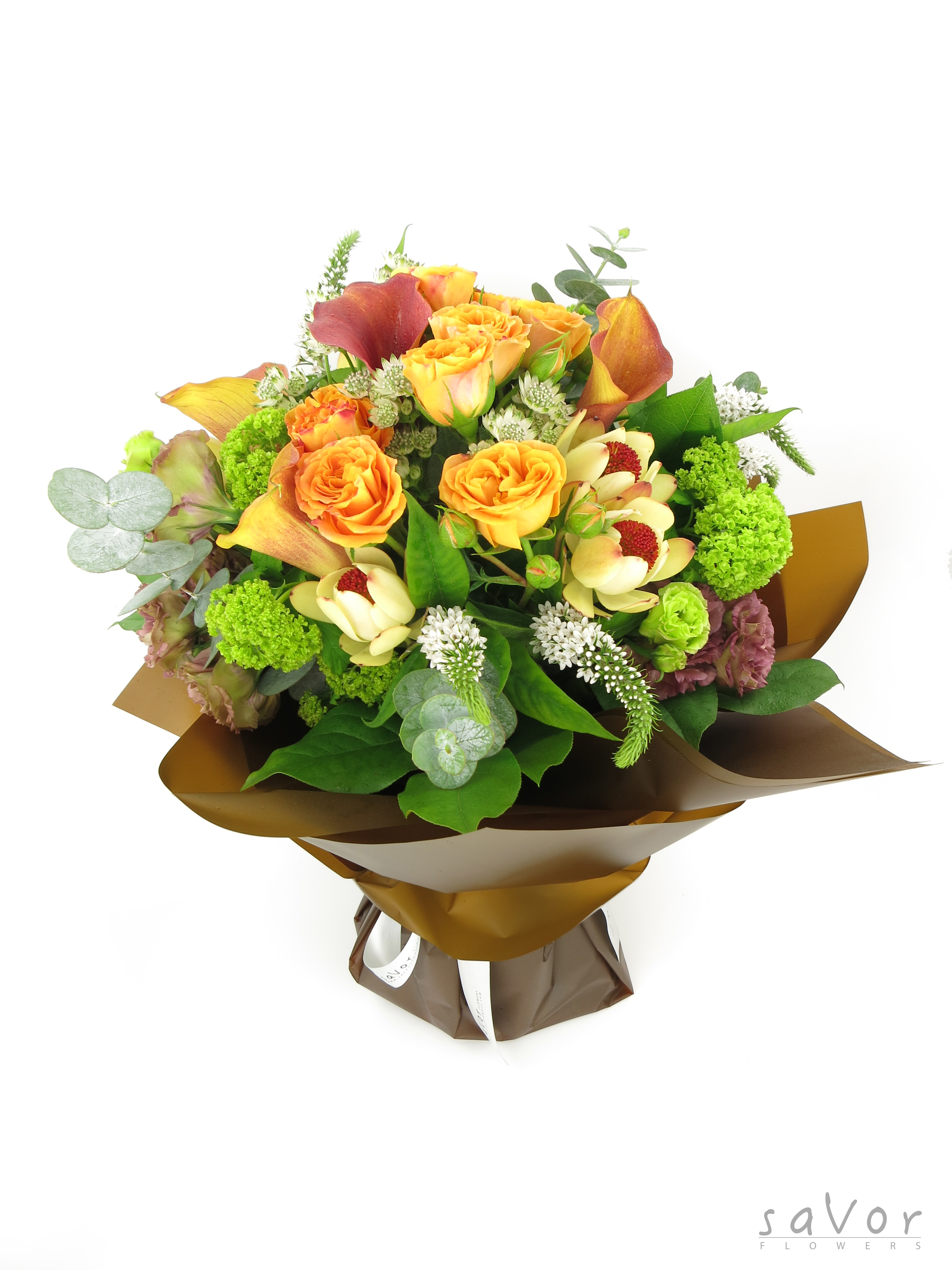 Yellow Lilies, Orange Little Rose, Green Viburnum and Assorted ...