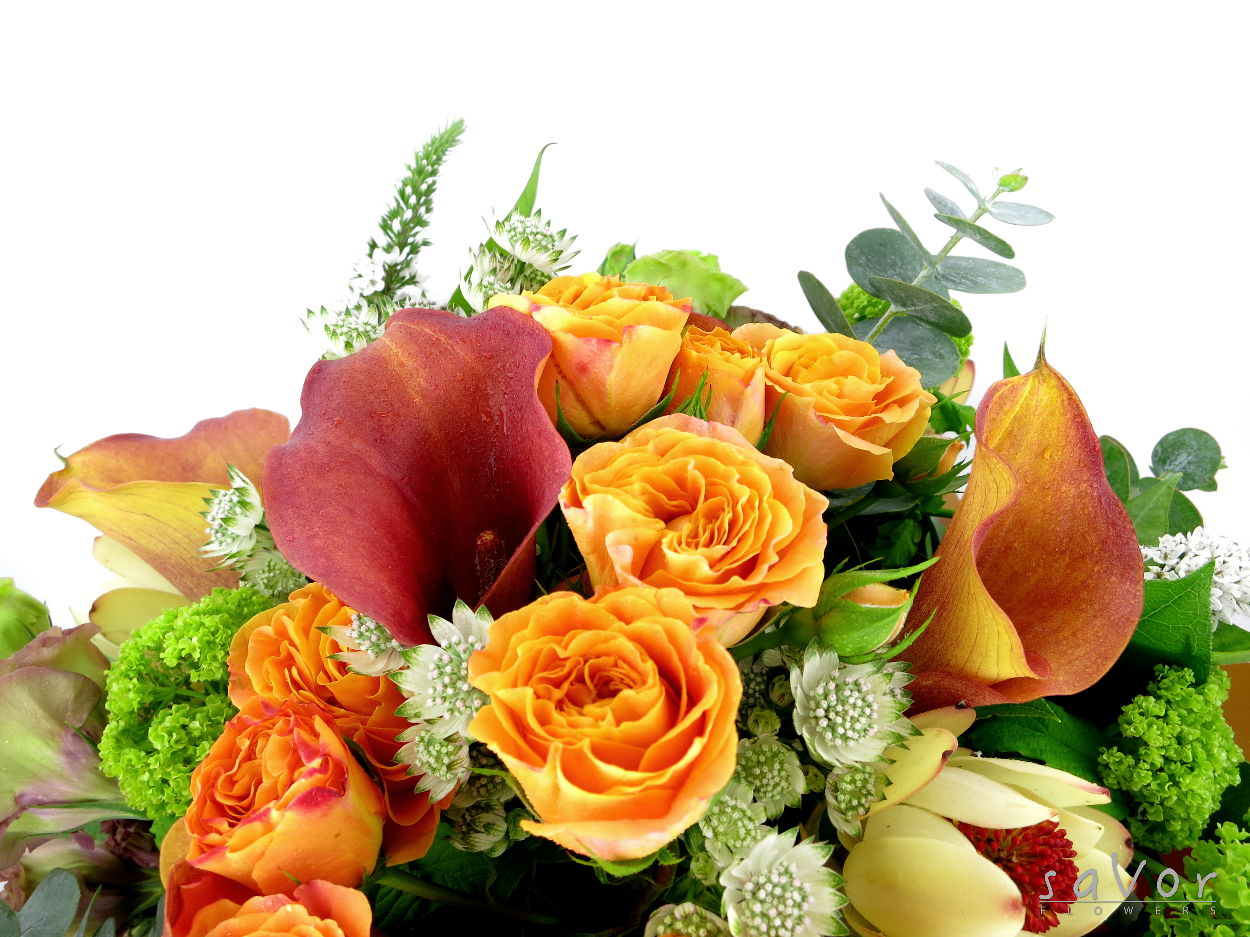 Yellow Lilies Orange Little Rose Green Viburnum And Assorted