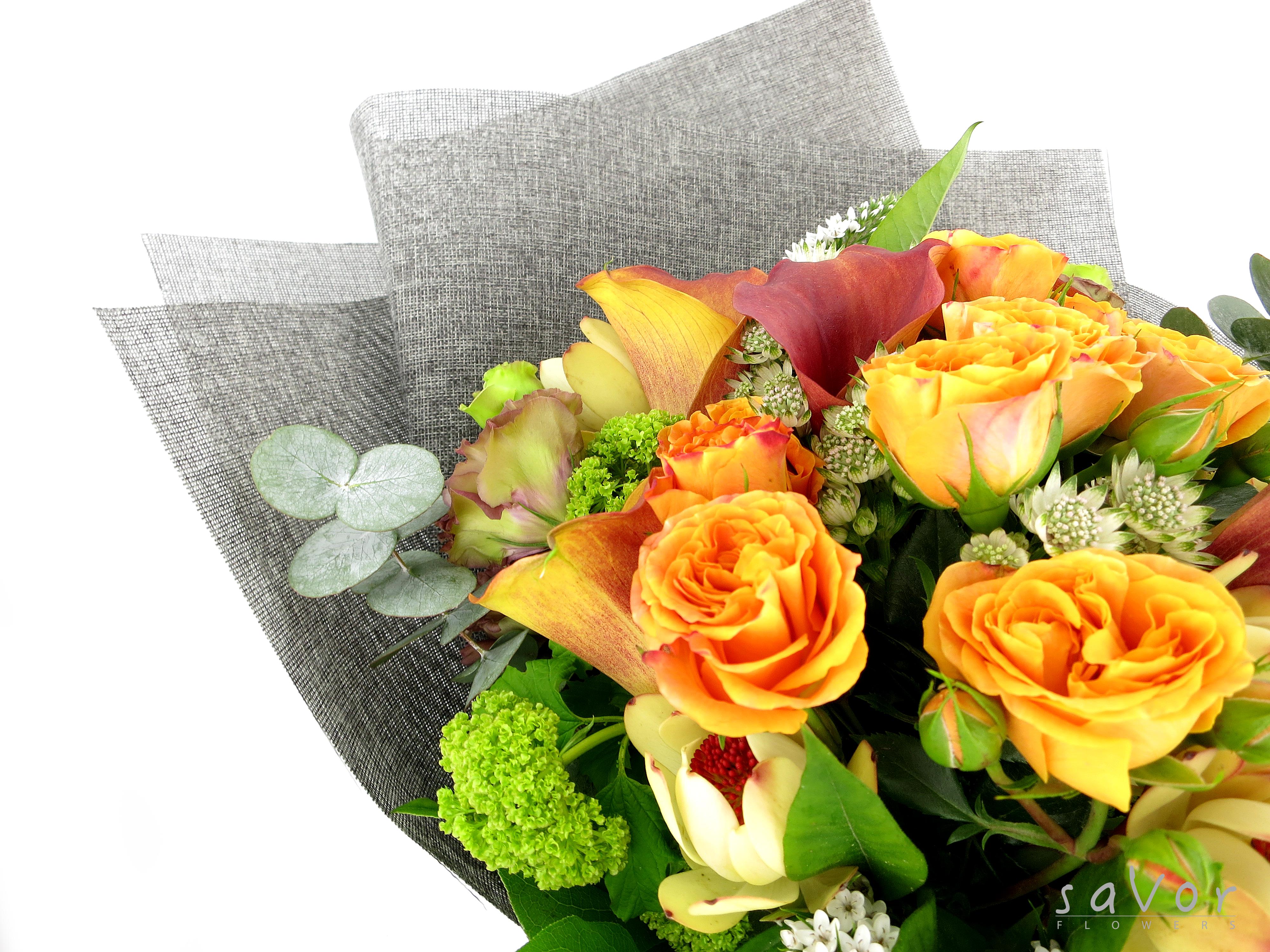 Yellow Lilies, Orange Little Rose, Green Viburnum and Greenery ...